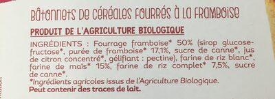 Barres croustillantes framboise - Ingredients