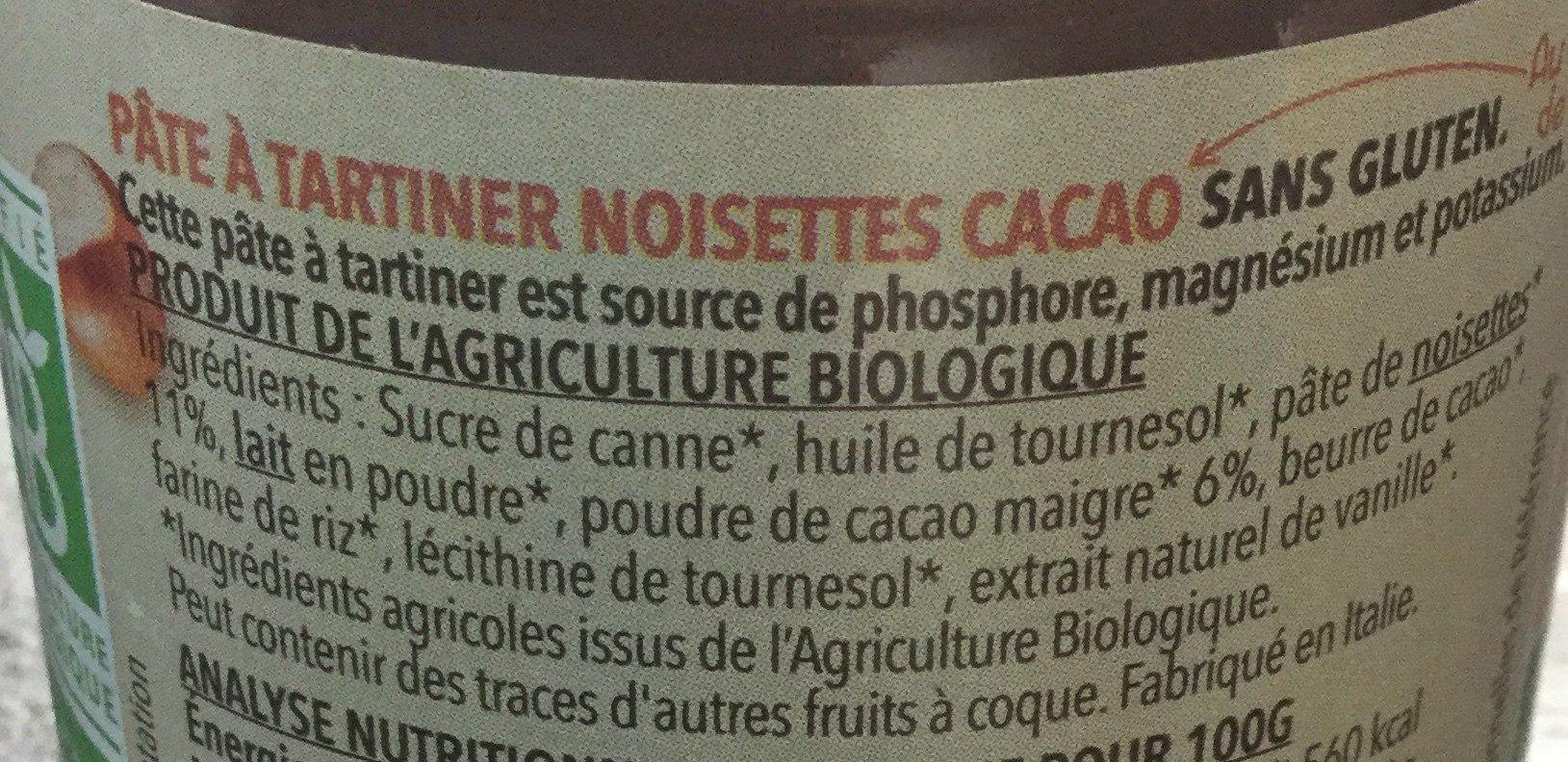 Pâte à tartiner Noisette Cacao - Ingrédients - fr
