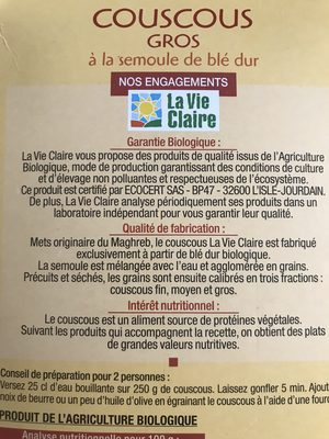 Couscous gros - Ingrediënten