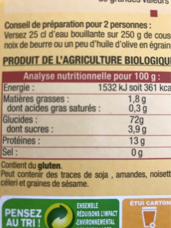 Couscous gros - Voedigswaarden