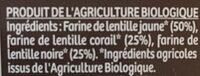 Lentilles 3 couleur en torsades - Ingrediënten