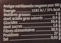 Lentilles 3 couleur en torsades - Voedingswaarden - fr