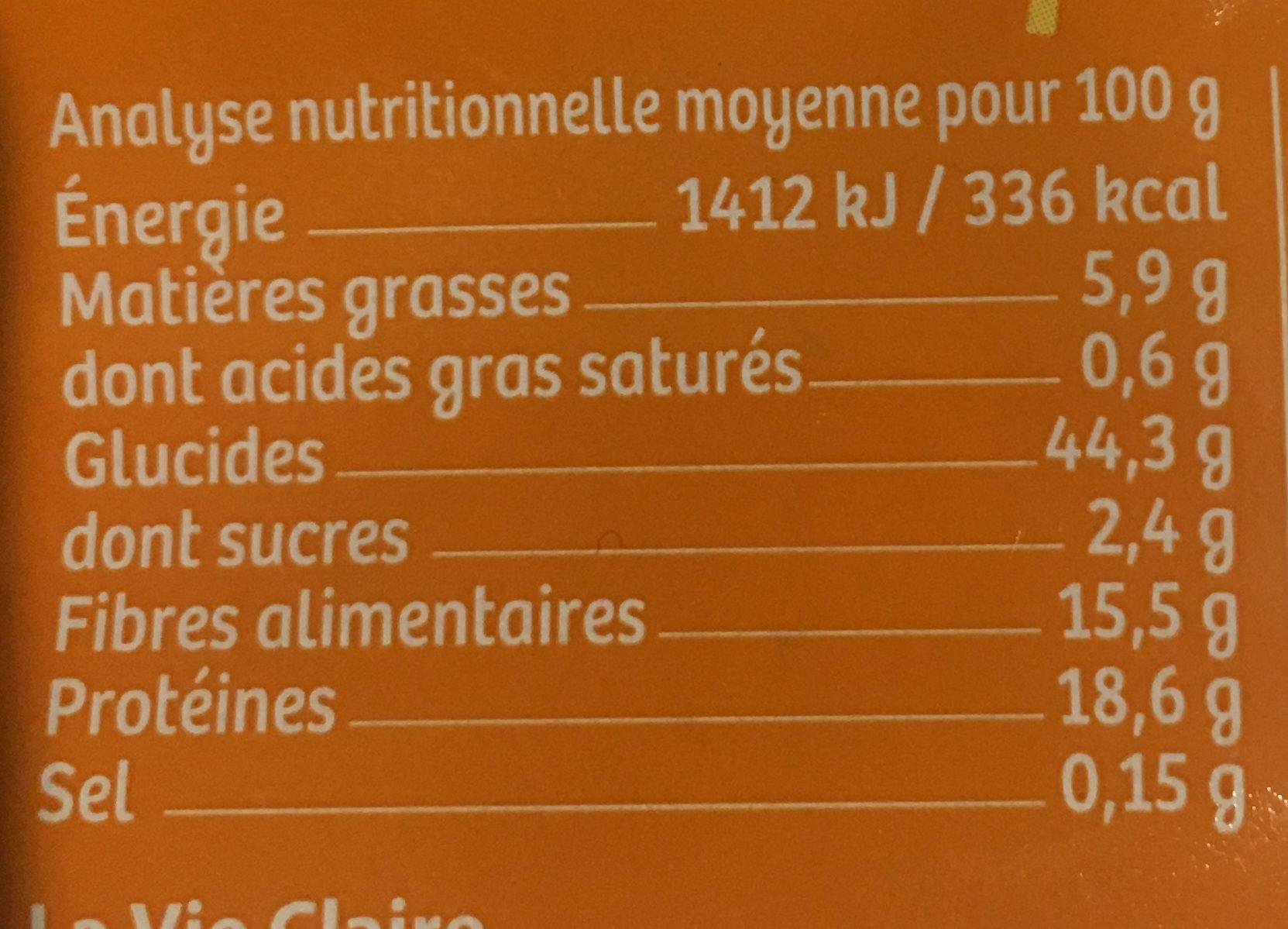 Pois Chiches en Torsades - Informations nutritionnelles - fr