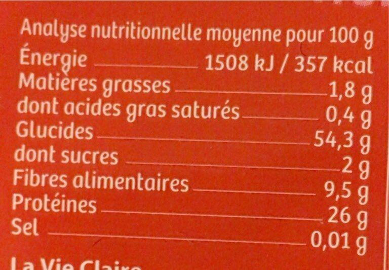 Lentilles corail en torsades - Informations nutritionnelles - fr