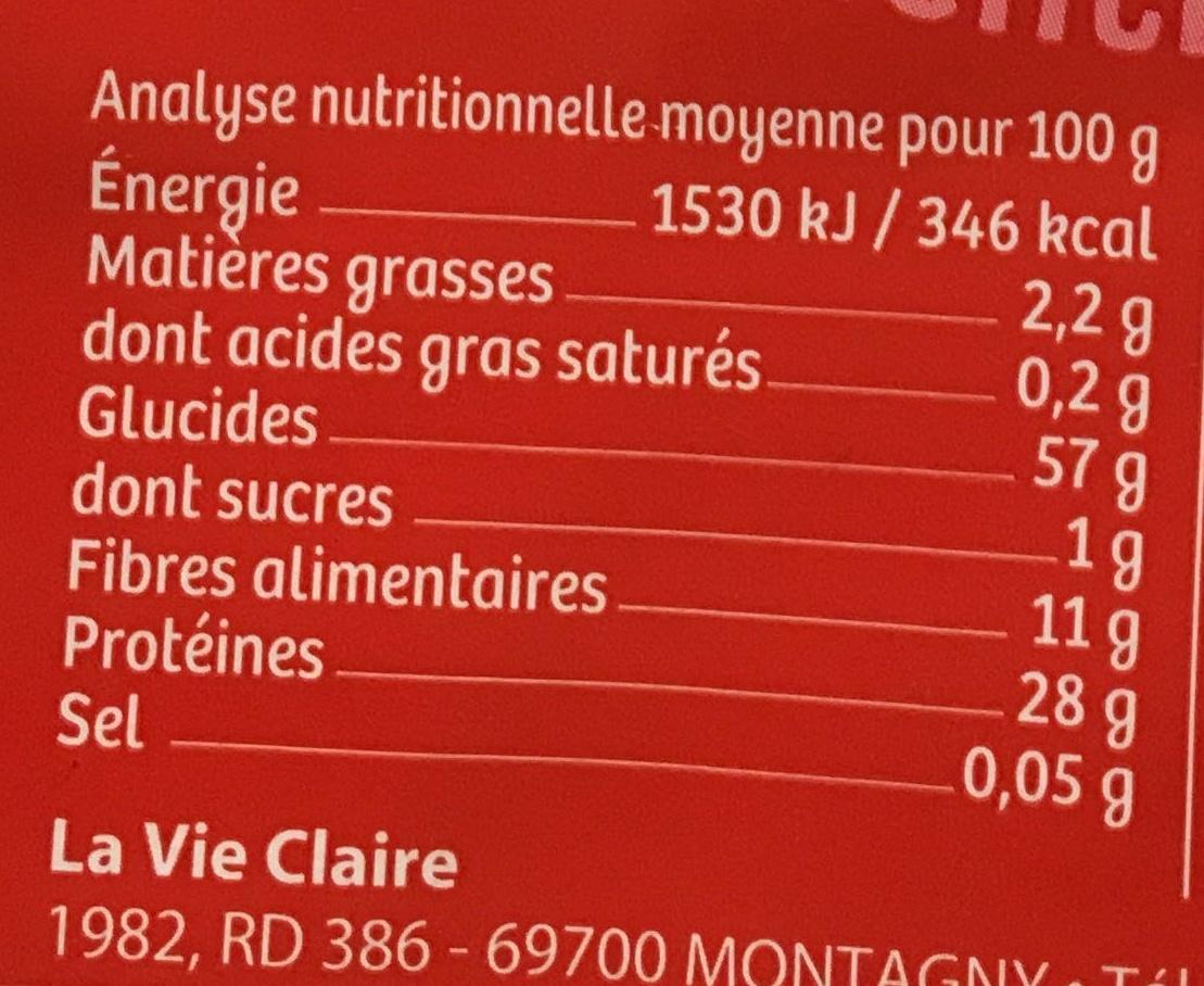 Lentilles corail en torsades - Voedingswaarden - fr