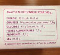 Biscuits fourrés cacao et noisette - Nutrition facts