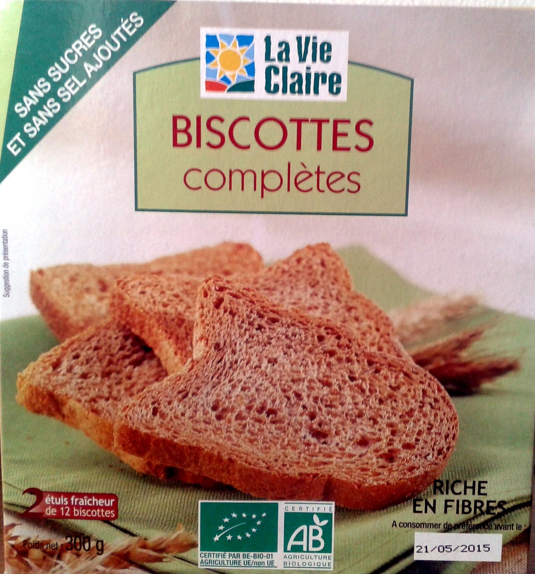 Biscottes complètes sans sucres et sans sel ajoutés - Produit - fr