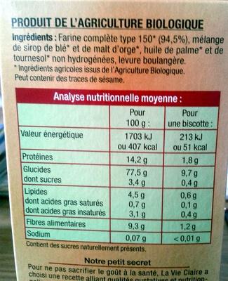 Biscottes complètes sans sucres et sans sel ajoutés - Informations nutritionnelles - fr