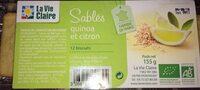 Sablés quinoa et citron - Produit - fr