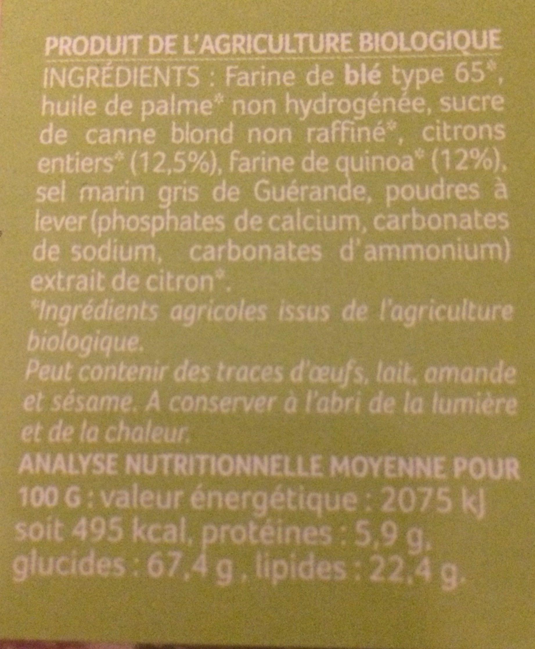 Sablés quinoa et citron - Ingrédients - fr