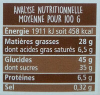 Brownie chocolat et noix - Informations nutritionnelles - fr