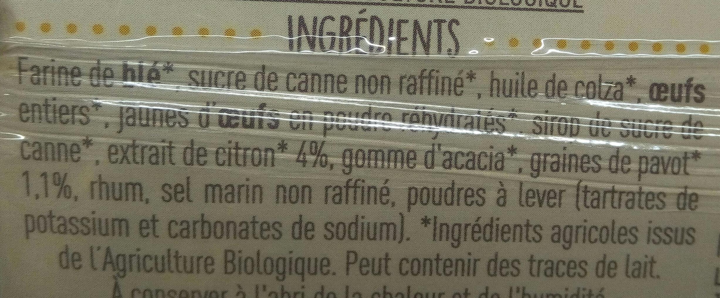 Cake Citron et graines de Pavot - Ingredients