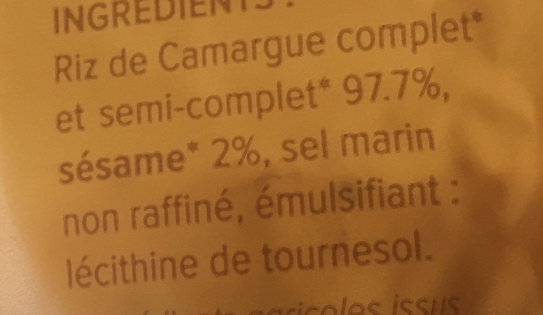 Galettes De Riz Au Sésame, 130 Grammes, Marque La Vie Claire - Ingrediënten - fr