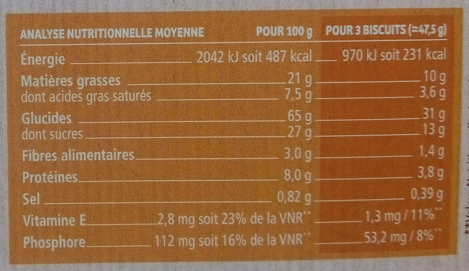 Biscuit petit dejeuner - Nutrition facts