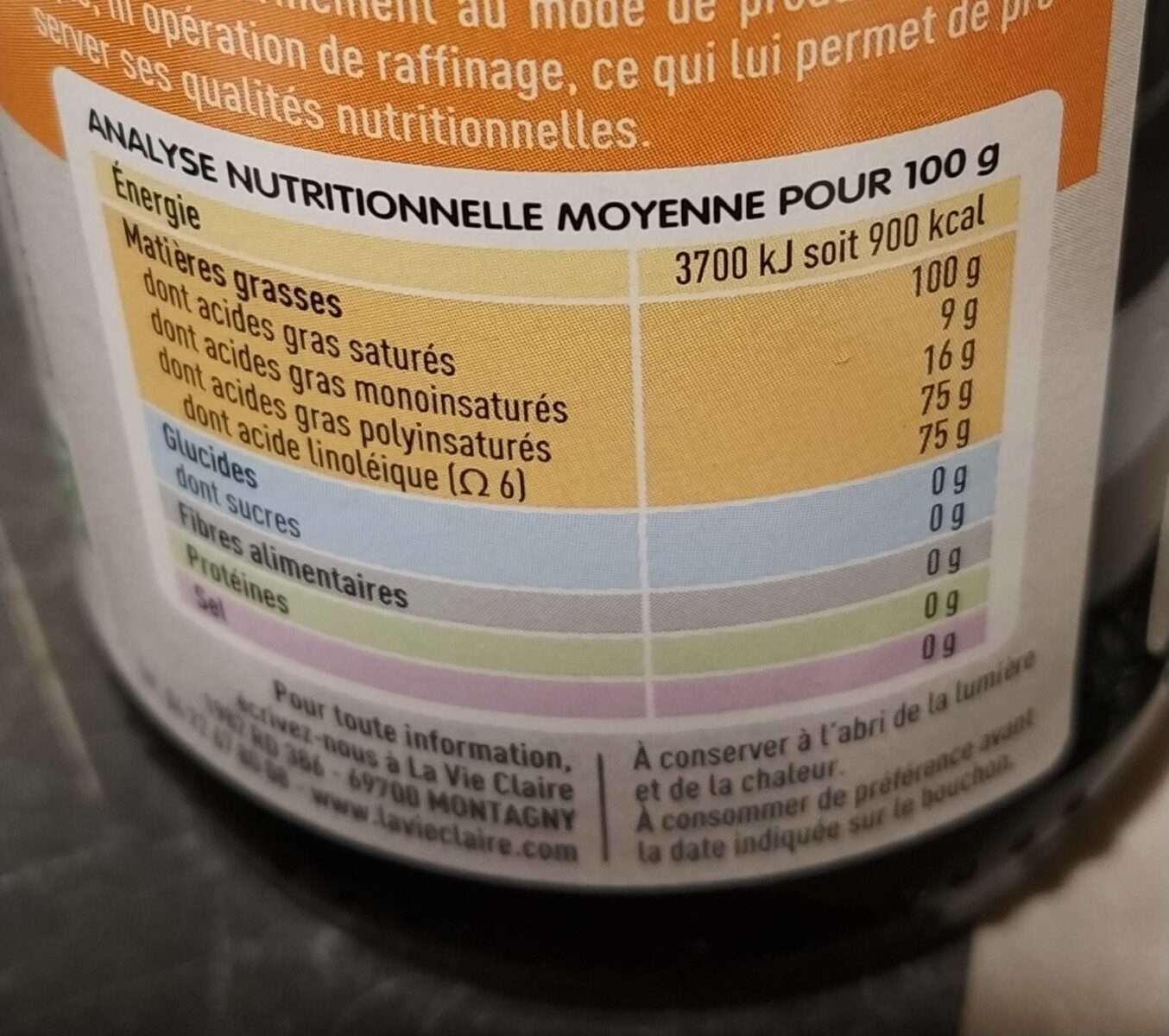 Huile vierge de carthame - Informations nutritionnelles - fr