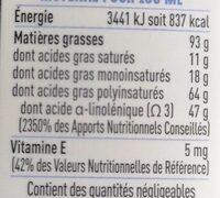 Huile Vierge De Lin - Informations nutritionnelles - fr