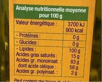 Huile vierge macadamia - Nutrition facts - fr