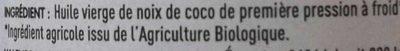 Huile vierge de noix de coco - Ingredients