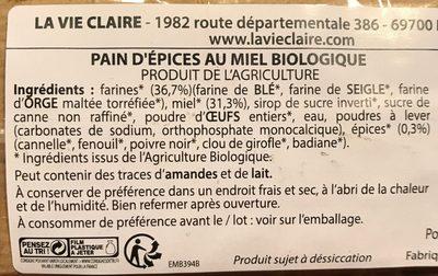 Véritable pain d'épices de Dijon - Ingredients