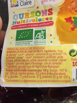 Oursons multicolores - Ingredients