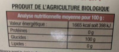 Sucre de canne roux - Ingredients