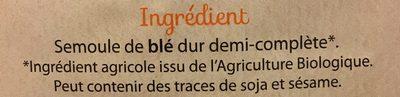 Pates spirales demi-complete - Ingrediënten