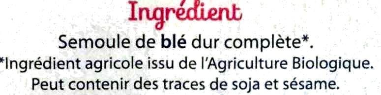 Pâtes complètes, Spaghetti Bio - Ingredients - fr