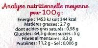 Pâtes complètes, Spaghetti Bio - Nutrition facts