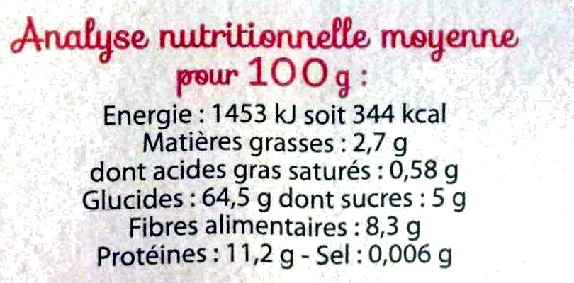 Pâtes complètes, Spaghetti Bio - Nutrition facts - fr