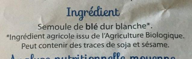 Pâtes blanches Codini - Ingrediënten - fr