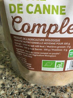 Sucre de canne complet - Ingrediënten - fr