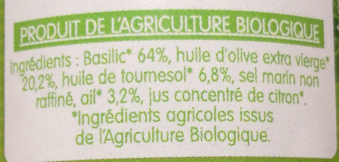 Sauce Basilic - Ingrédients