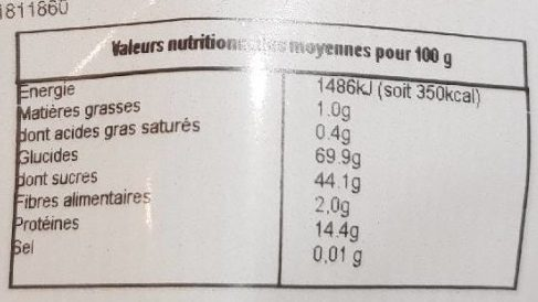Baies de goji - Nutrition facts - fr