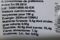 Abricots Secs - Nutrition facts