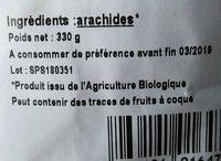 Arachides en Coques Grillées D'Egypte 330g - Ingrediënten