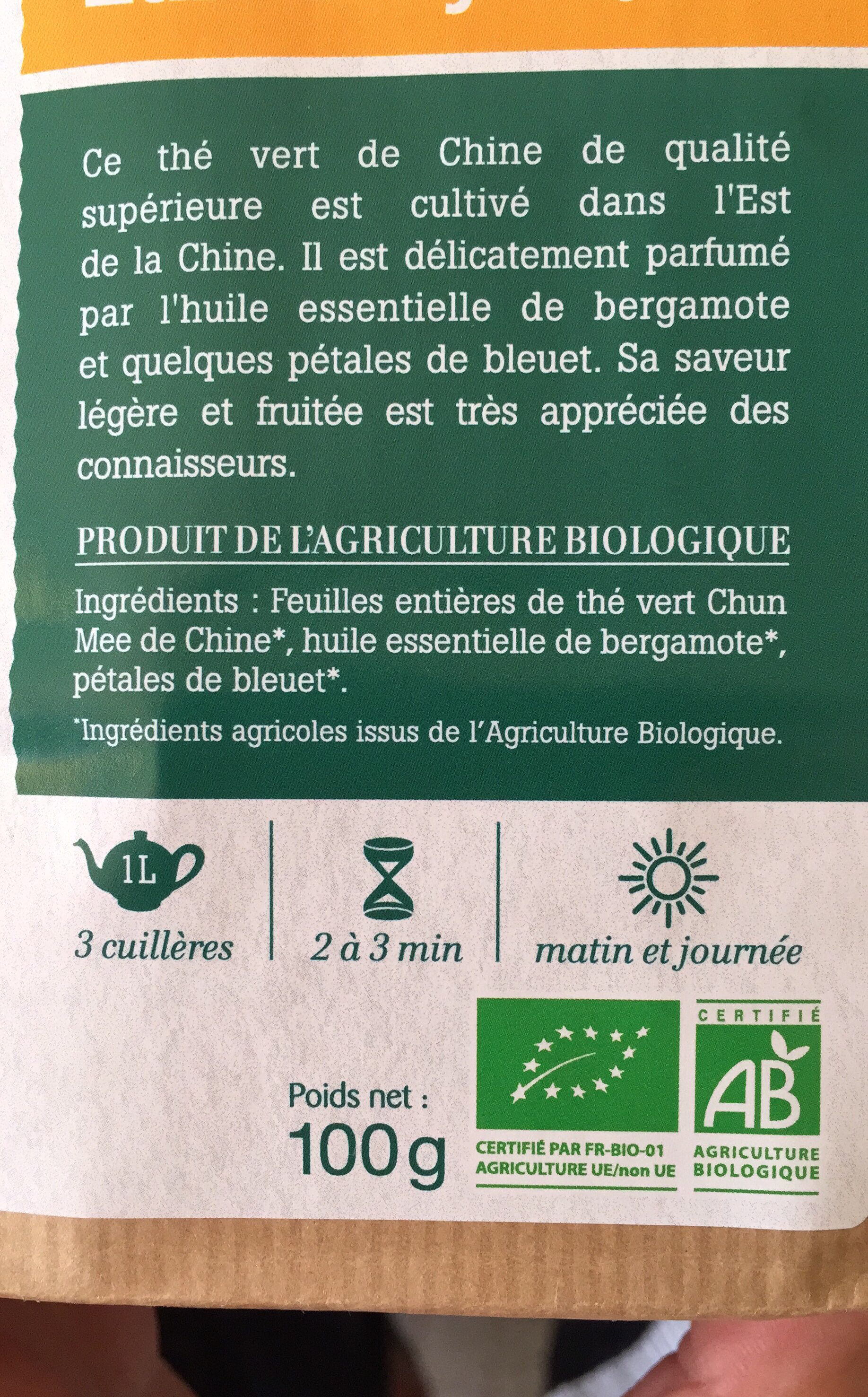Thé vert Earl Grey Bergamote - Ingrediënten - fr