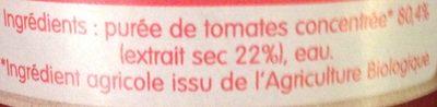 Concentré de tomates - Ingrédients