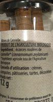 Batons de cannelle - Ingredients