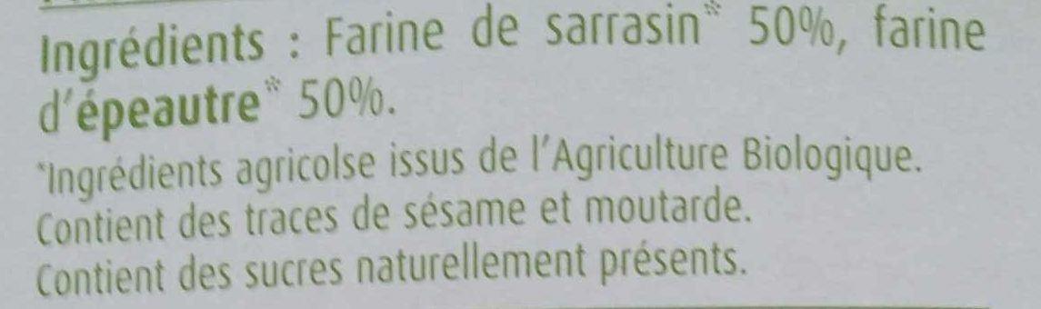 Pain azyme sarrasin épeautre - Ingredienti - fr