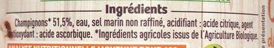 Champignons de paris émincés - Ingrédients