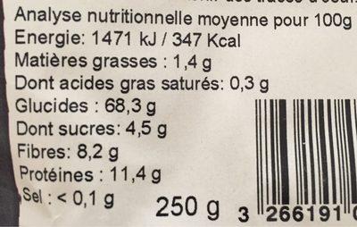 Tortils aux cèpes - Nutrition facts