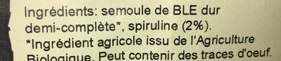 Tagliatelles à la spiruline - Ingredients