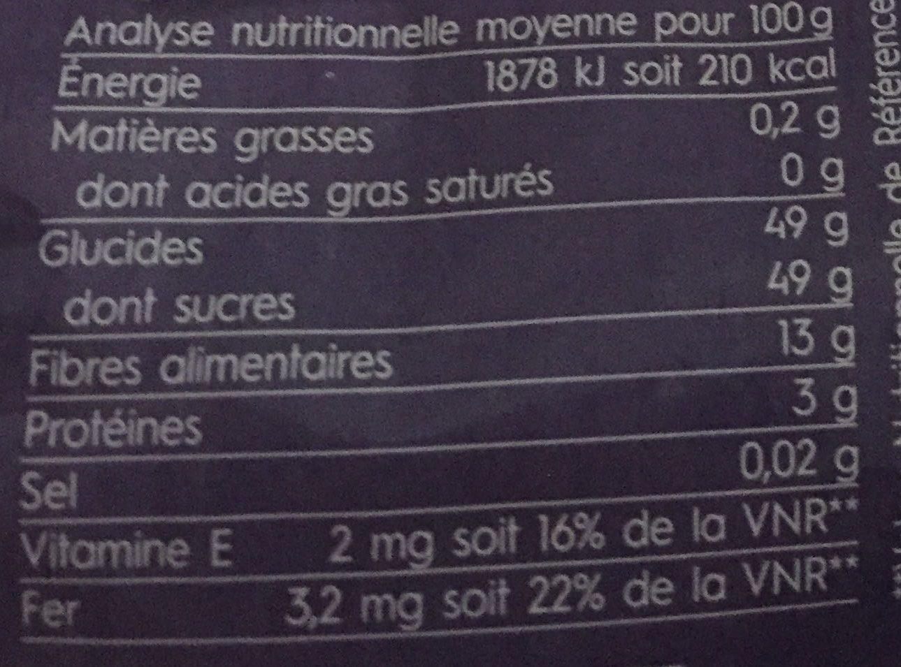 Pruneaux Entiers du Sud de la France - Informations nutritionnelles - fr