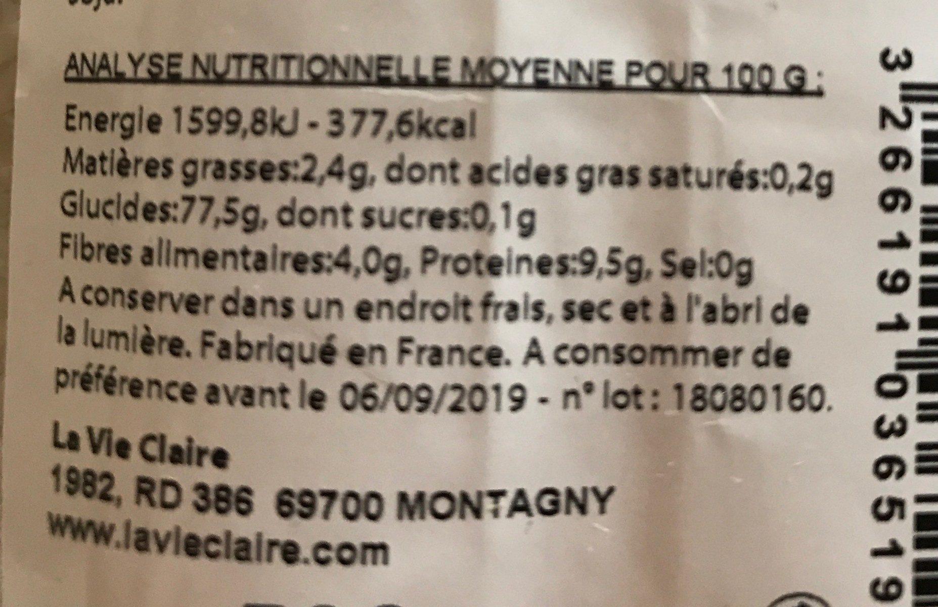 Riz Thaï long 1/2 complet - Informations nutritionnelles - fr