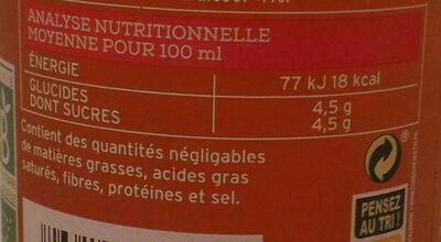 Kombucha framboise litchi - Informations nutritionnelles
