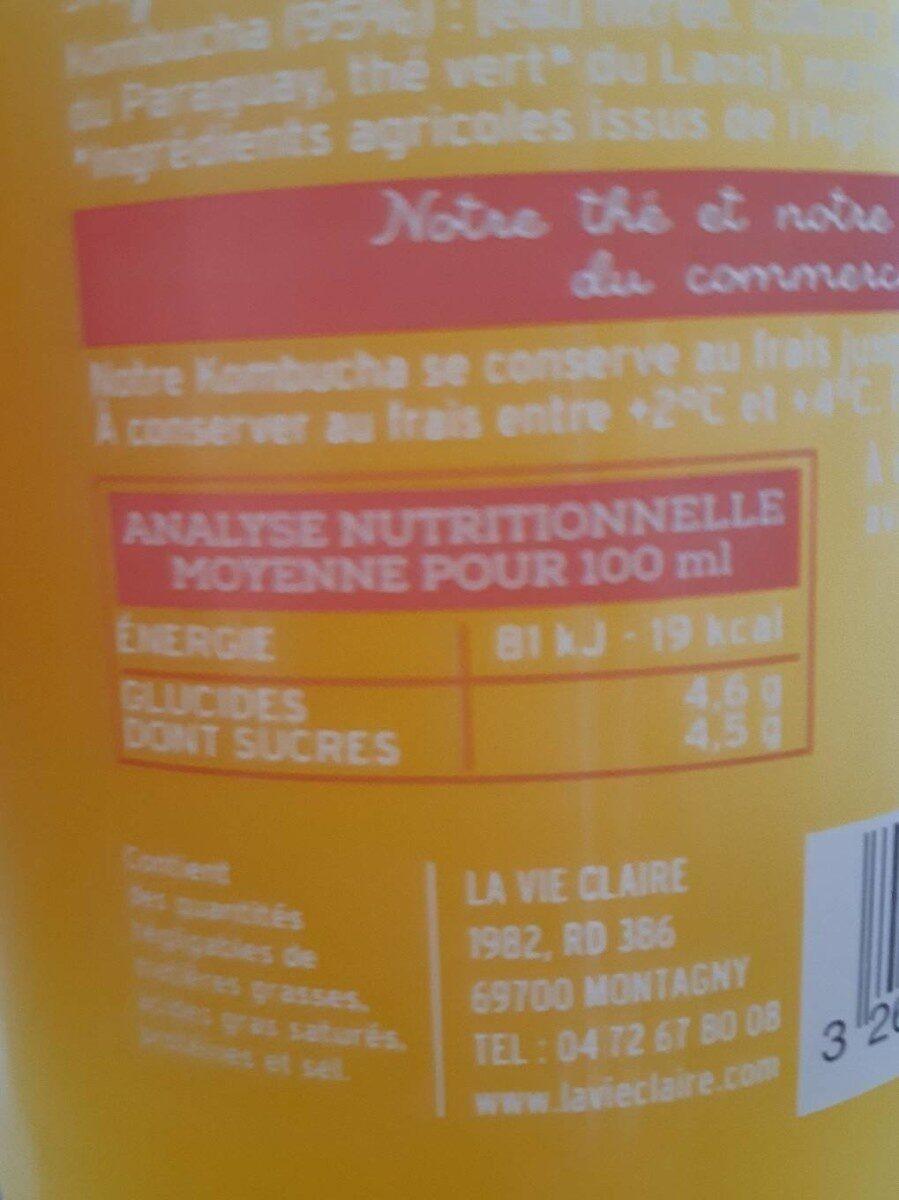 Kombucha - Informations nutritionnelles - fr