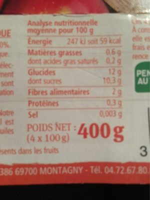 Purée de pommes - Nutrition facts