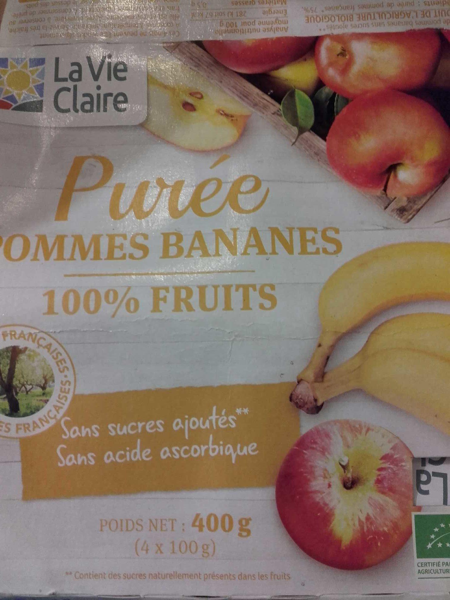 Purée Pommes Bananes 100% Fruits - Produit - fr