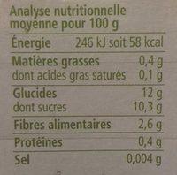 Purée pommes poires 100% fruits - Informations nutritionnelles - fr