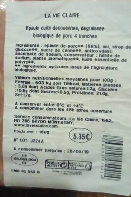 Épaule cuite découennée - Voedingswaarden